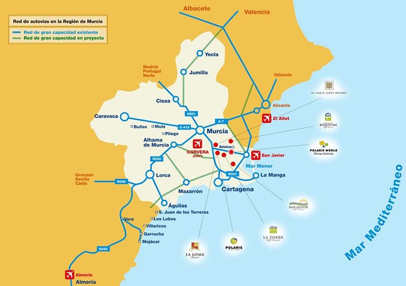 Map Of Spain Showing Murcia.Sunset Estates Golf Property Spain Polaris World Resales La